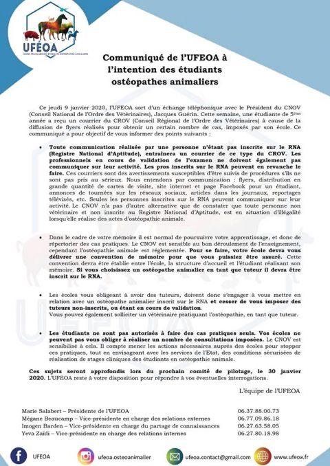 Communiqué à l'intention des étudiants en ostéopathie animale